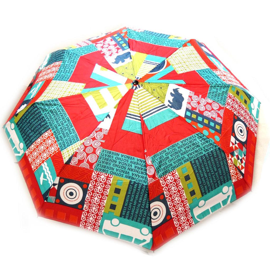Parapluie mini Neyrat \'Patchwork\' rouge vert - [M2651]