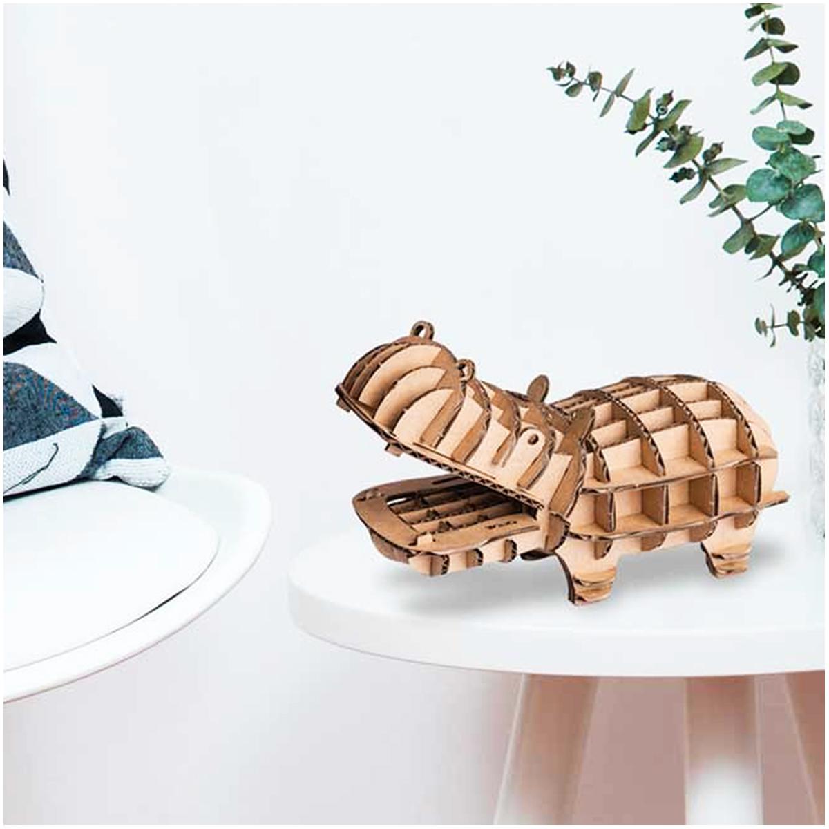 Figurine carton 3D \'Hippopotame\' - planches 165x175 cm - [Q9225]