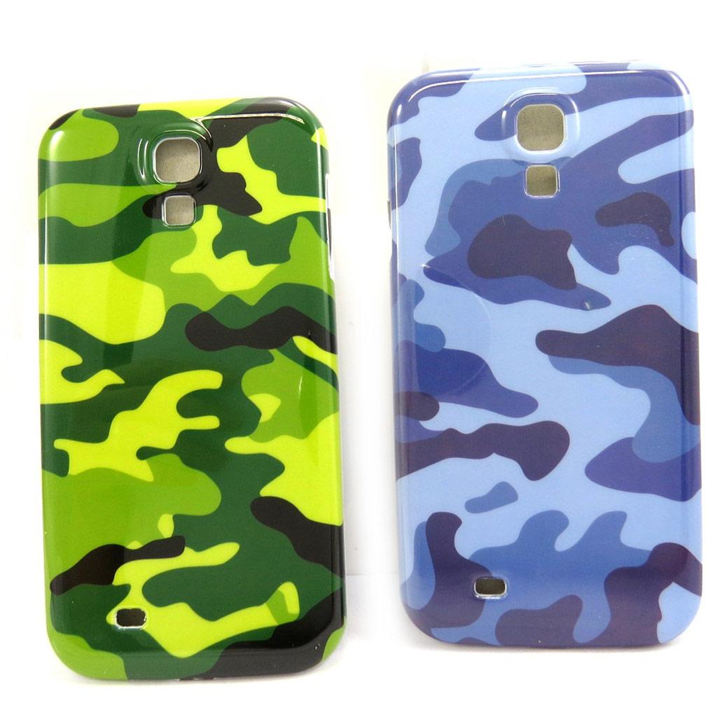 2 coques créateur \'Camouflage\' Samsung S4, I9500 (vert bleu) - [L5832]