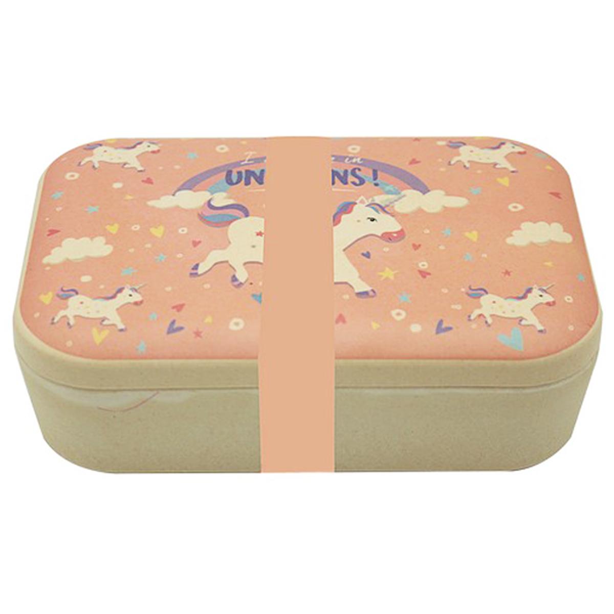 Lunch box bambou \'Licorne My Unicorn\' rose beige - 19x13x6 cm - [R0617]