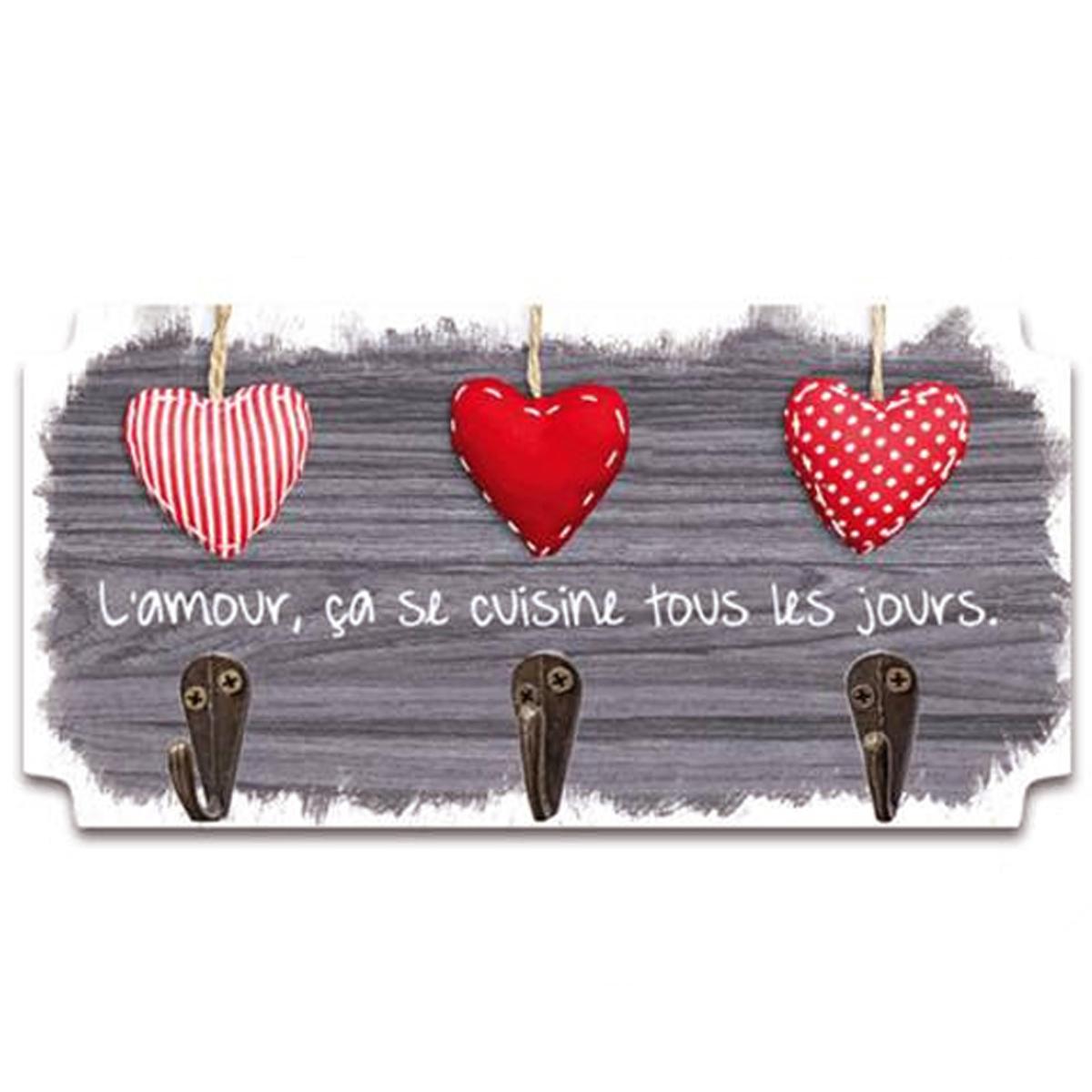 Accroche torchons bois \'Messages\' marron (L\'Amour, ça se cuisine tous les jours) 3 accroches - 19x10 cm - [P5299]