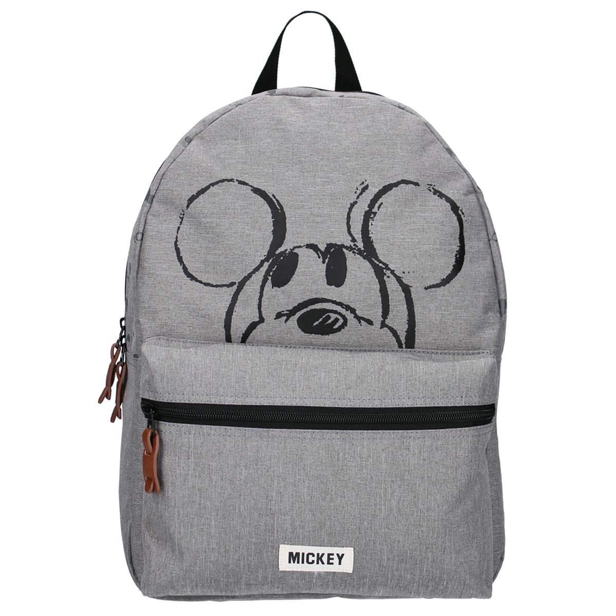 Sac à dos créateur \'Mickey\' gris - 39x29x12 cm - [A0122]
