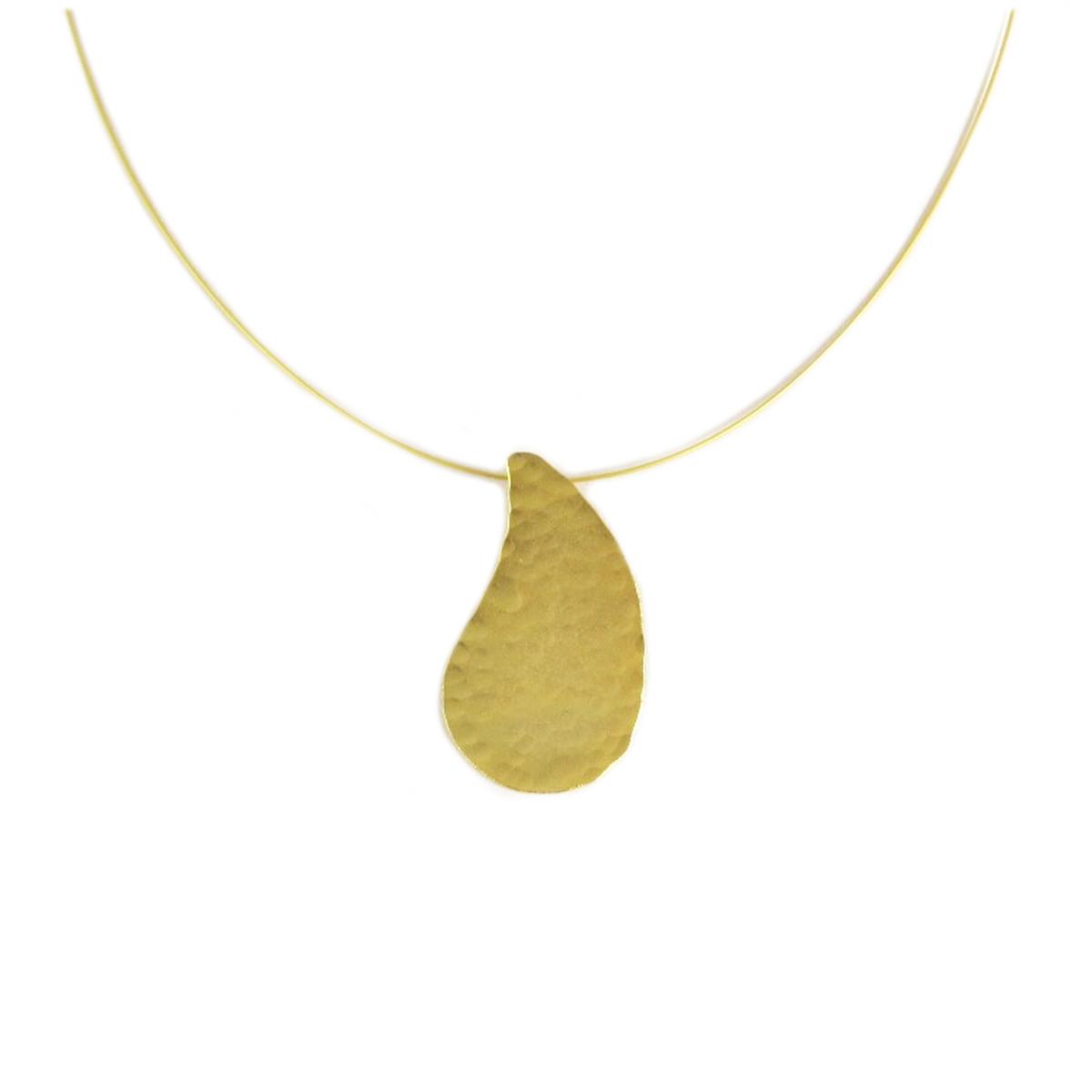 Collier artisanal \'Athena\' doré  - 40x22 mm - [Q7881]