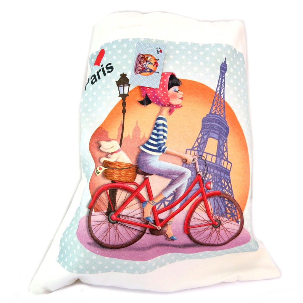 Sac coton \'I Love Paris\' beige turquoise (bicyclette) - 44x39 cm - [P5309]
