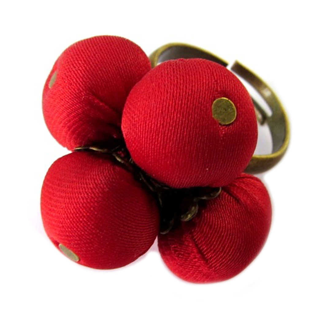 Bague artisanale \'Les Antoinettes\' rouge (fait main) - [P1664]