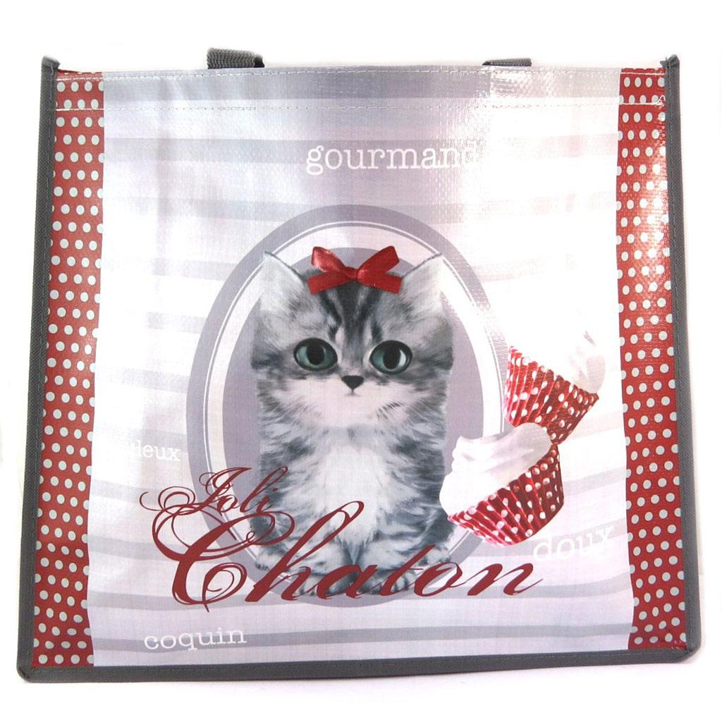 Sac Shopping rétro \'Joli Chaton\' gris rouge (chat) - 46x40x19 cm - [P5319]