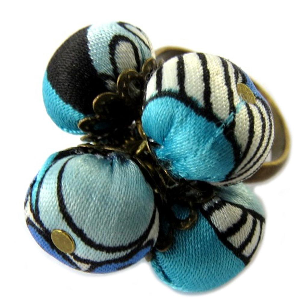 Bague artisanale \'Les Antoinettes\' lagon bleu (fait main) - [P1667]