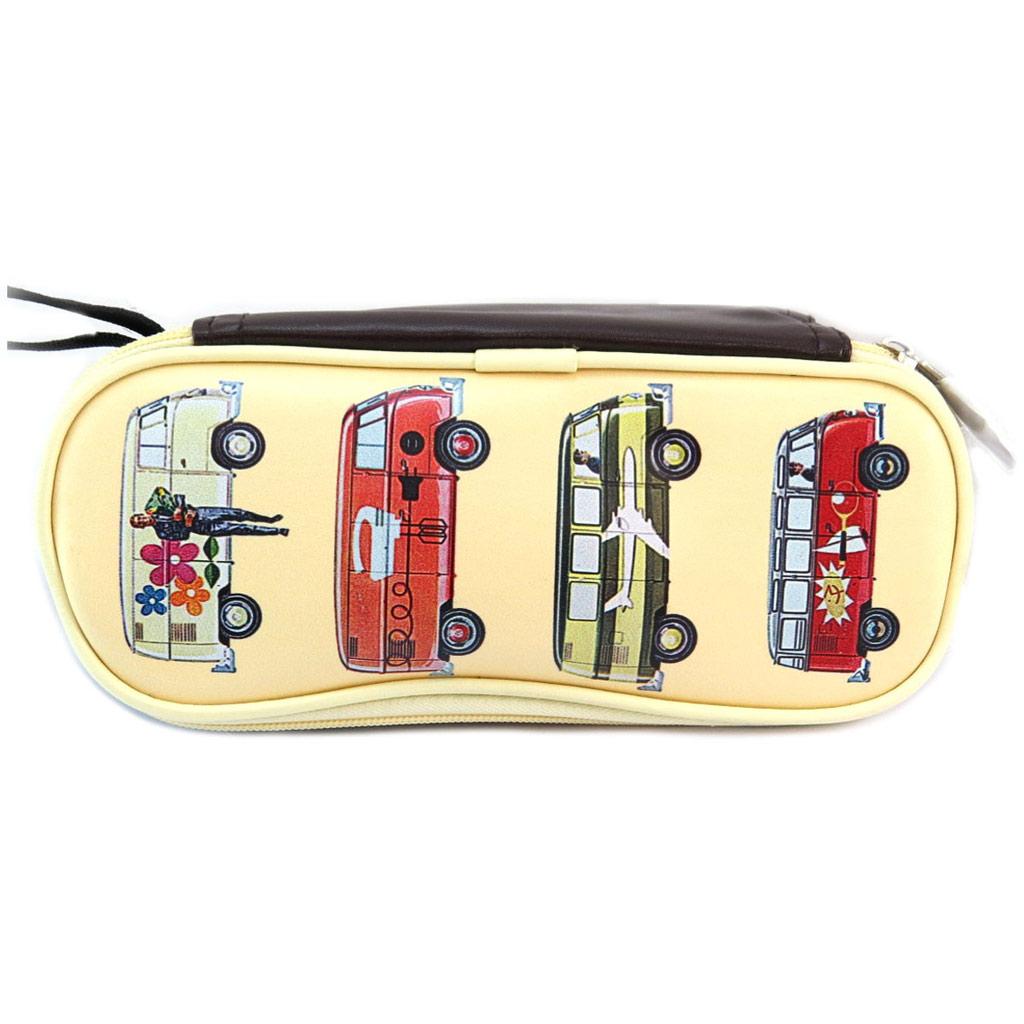 Trousse rétro \'Volkswagen\' beige rouge  - 23x9 cm - [P5325]