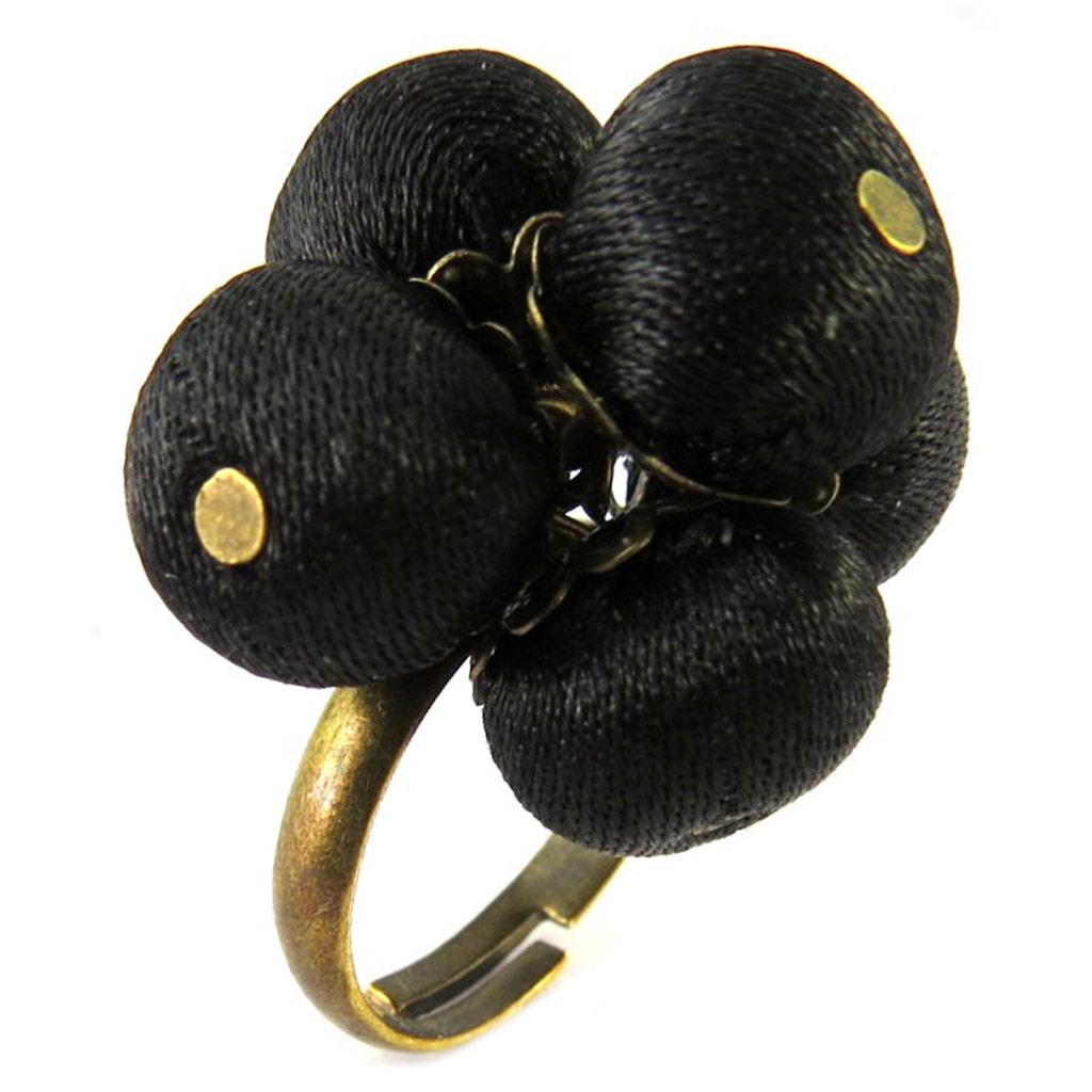 Bague artisanale \'Les Antoinettes\' noir (fait main) - [P1668]