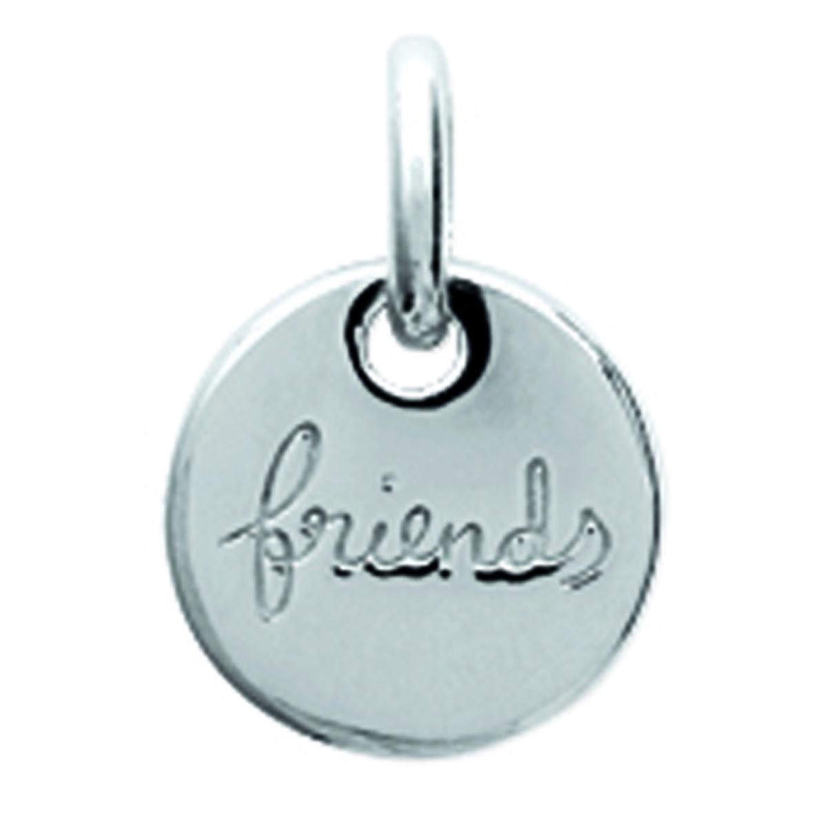 Pendentif Argent \'Friends\' argenté (rhodié) - 9 mm - [N3409]