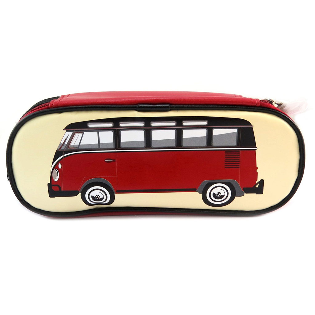 Trousse rétro \'Volkswagen\' rouge beige - 23x9 cm - [P5326]