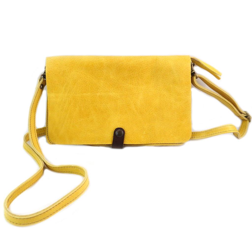Sac artisanal cuir \'Soleil du Sud\' jaune vintage (multi-compartiments)- 26x17x4 cm - [N7915]