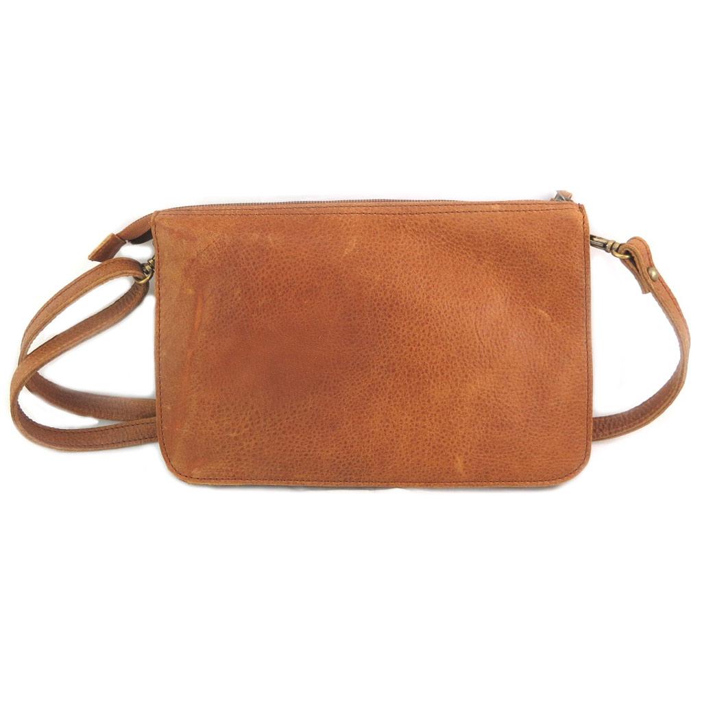 Sac artisanal cuir \'Soleil du Sud\' marron vintage (multi-compartiments)- 26x17x4 cm - [N7917]