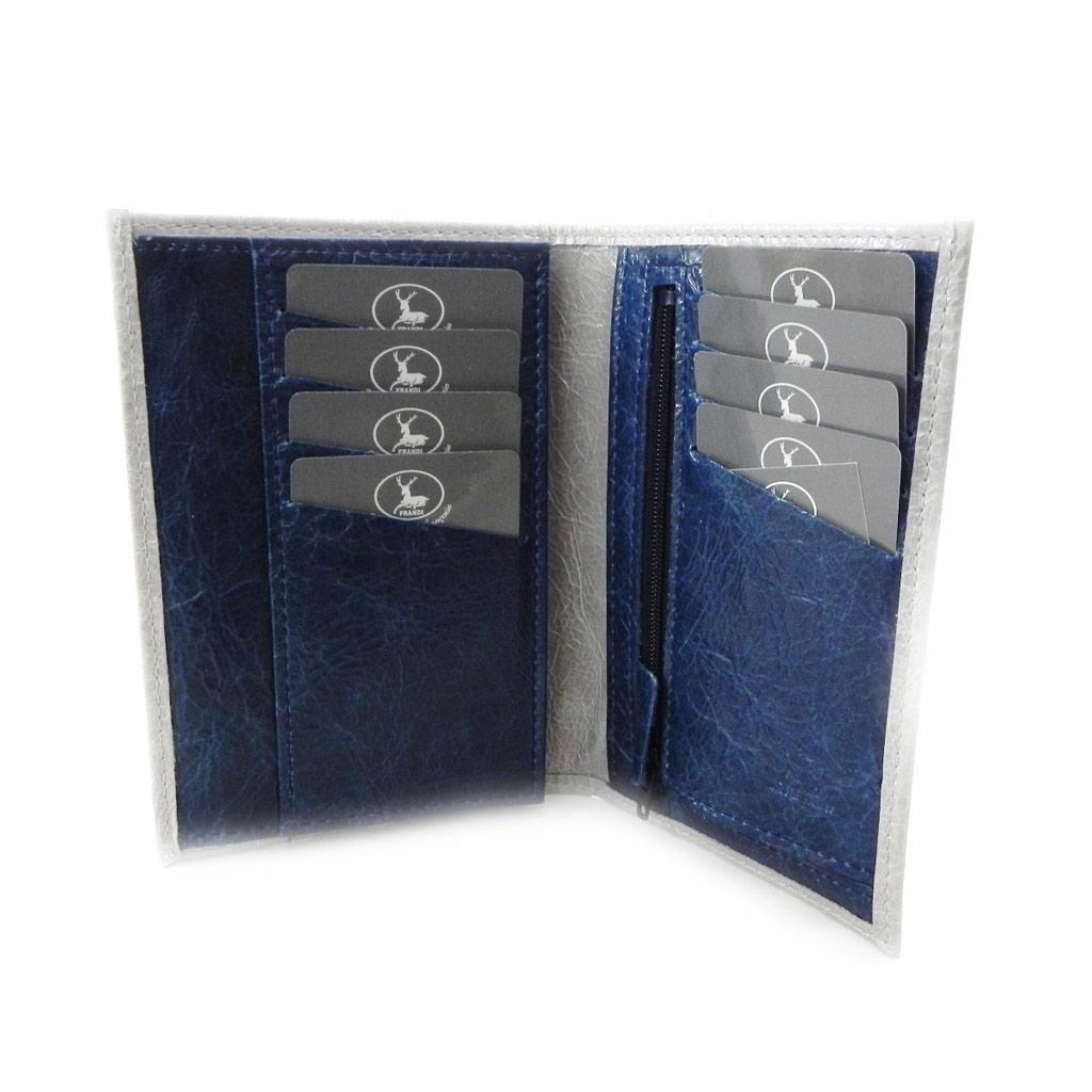 Portefeuille Cuir \'Frandi\' gris bleu vernis - [I7991]
