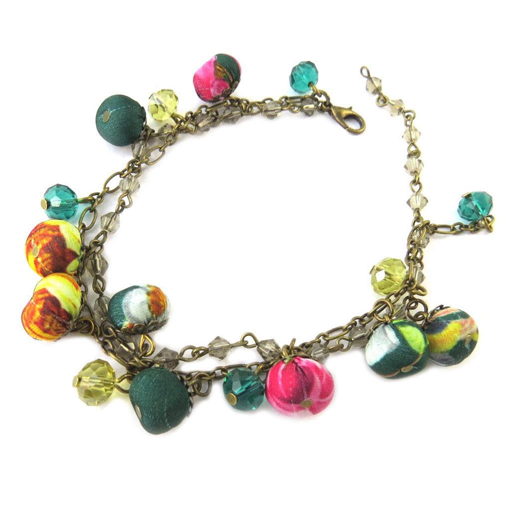 Bracelet artisanal \'Les Antoinettes\' vert multicolore (fait main) - [P1670]
