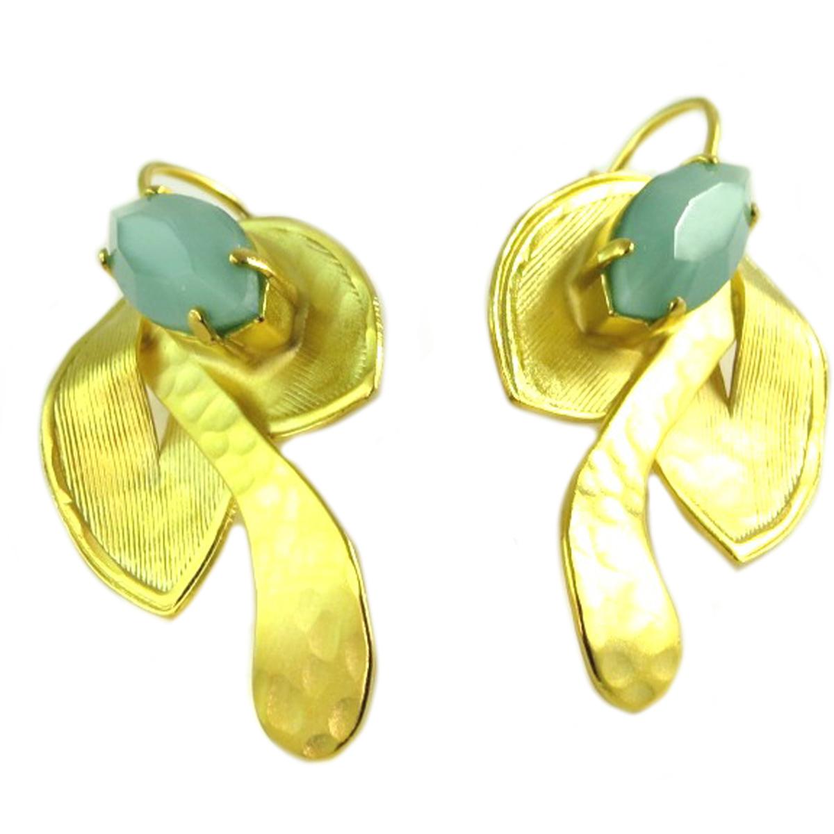 Boucles d\'oreilles artisanales \'Athena\' vert doré - 33x23 mm - [Q7891]