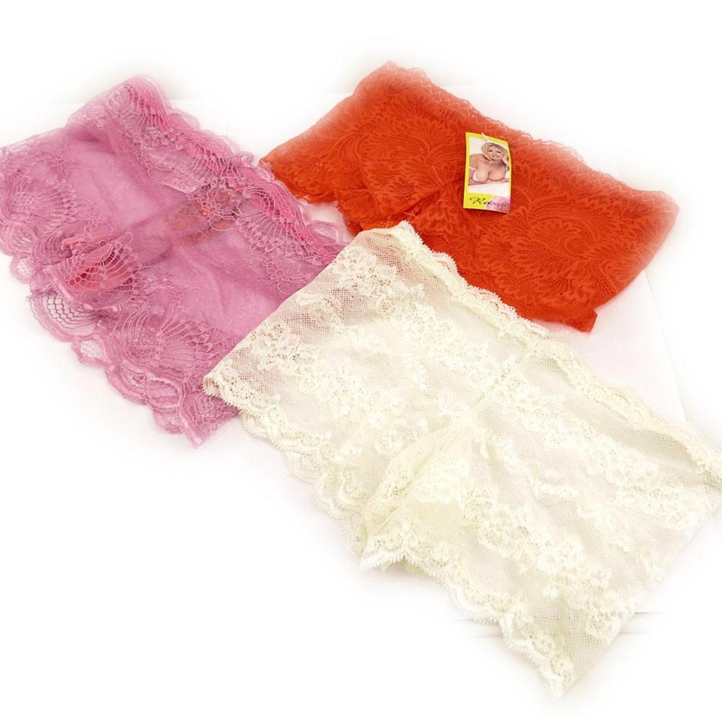 3 boxers \'Scarlett\' rouge rose ivoire (dentelle) - [L0210]