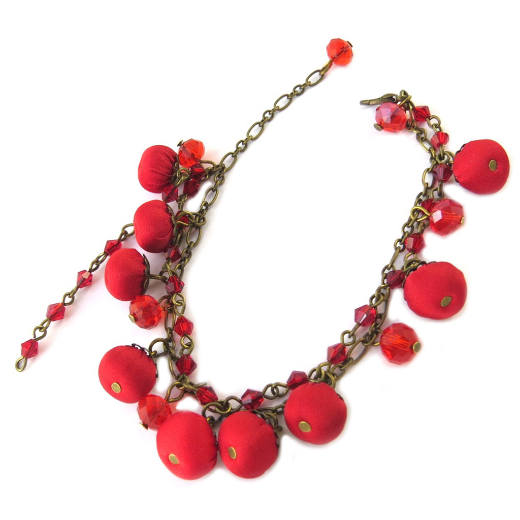 Bracelet artisanal \'Les Antoinettes\' rouge (fait main) - [P1674]