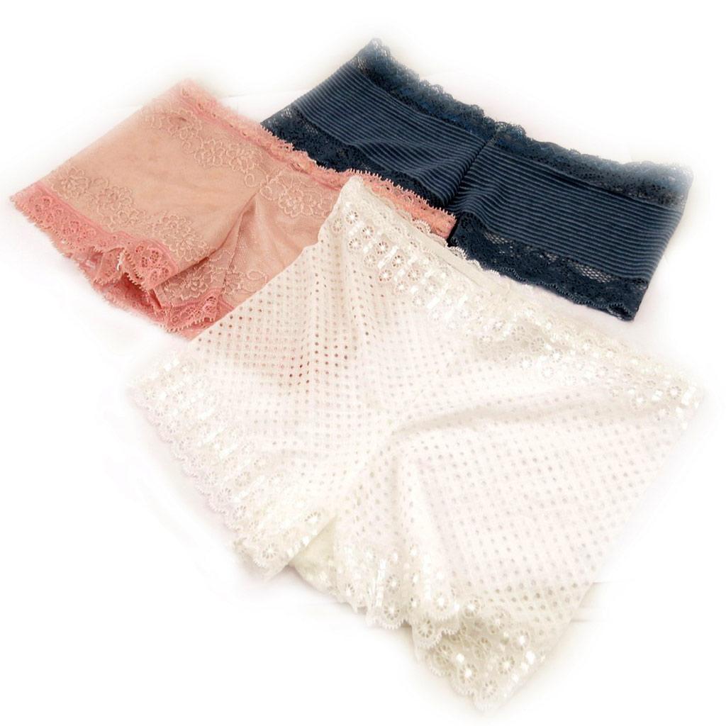 3 boxers \'Scarlett\' bleu rose ivoire (dentelle) - [L0211]