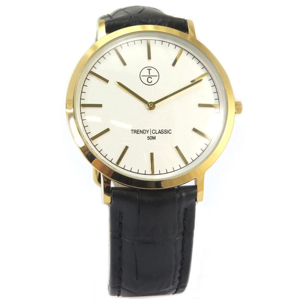 Montre étanche \'Trendy\' noir croco blanc doré (slim) - [P5333]