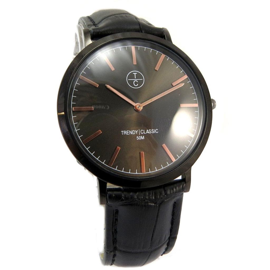 Montre étanche \'Trendy\' noir (slim) - [P5334]