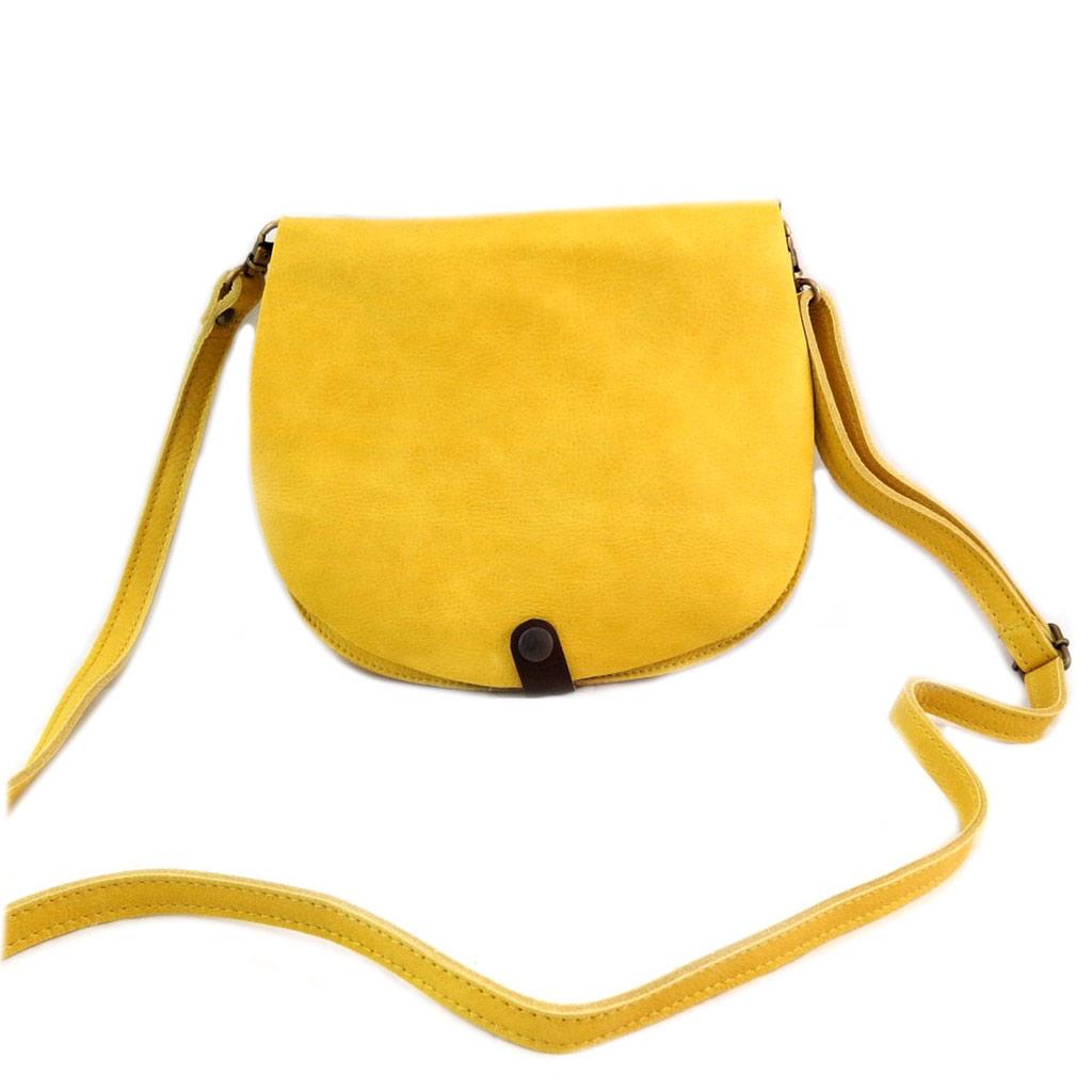 Sac artisanal cuir \'Soleil du Sud\' jaune vintage (multi-compartiments)- 23x20x9 cm - [N7924]