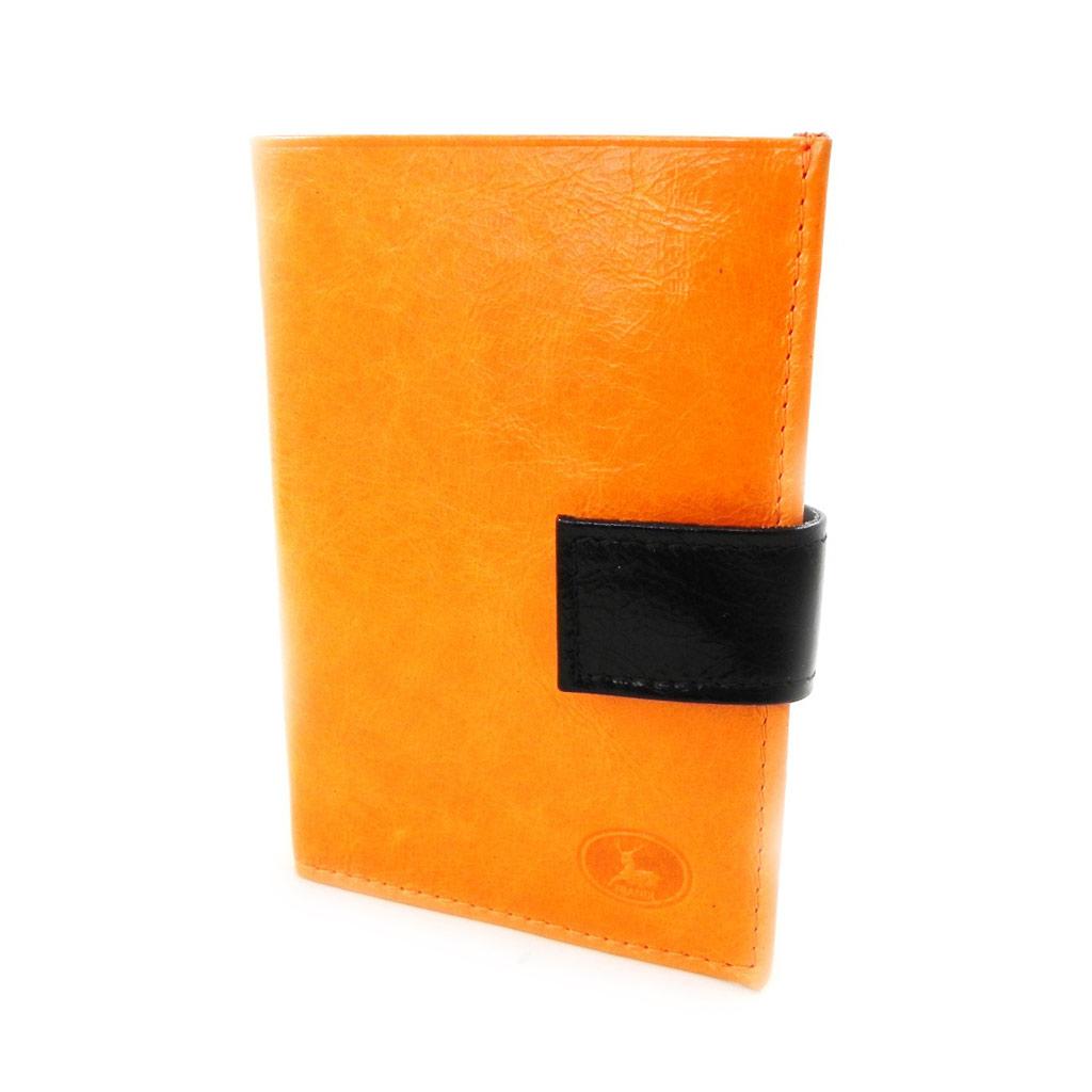 Portefeuille Cuir \'Frandi\' orange noir vernis (européen) - [I8000]