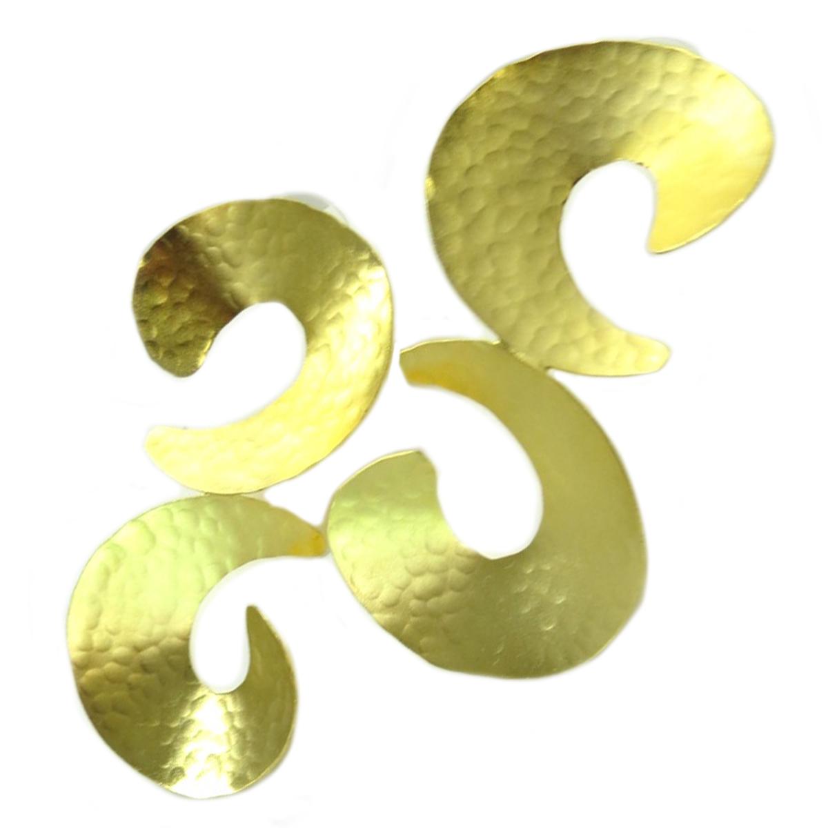 Boucles d\'oreilles artisanales \'Athena\' doré  - 70x35 mm - [Q7899]