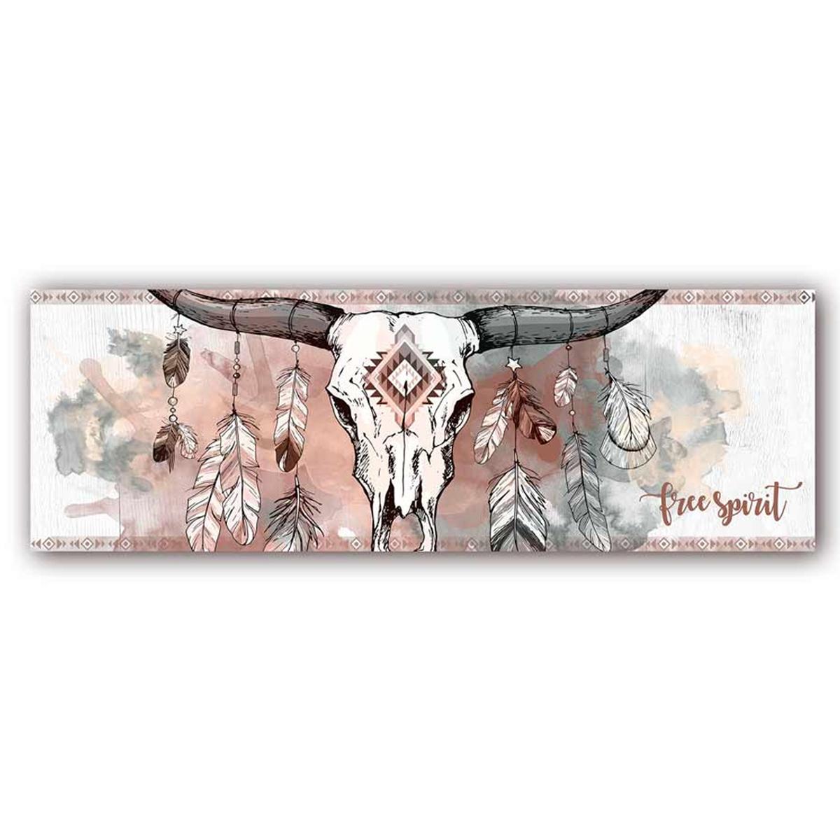 Toile créateur \'Boho\' marron gris (crâne de bison, free spirit) - 90x30 cm - [A0154]
