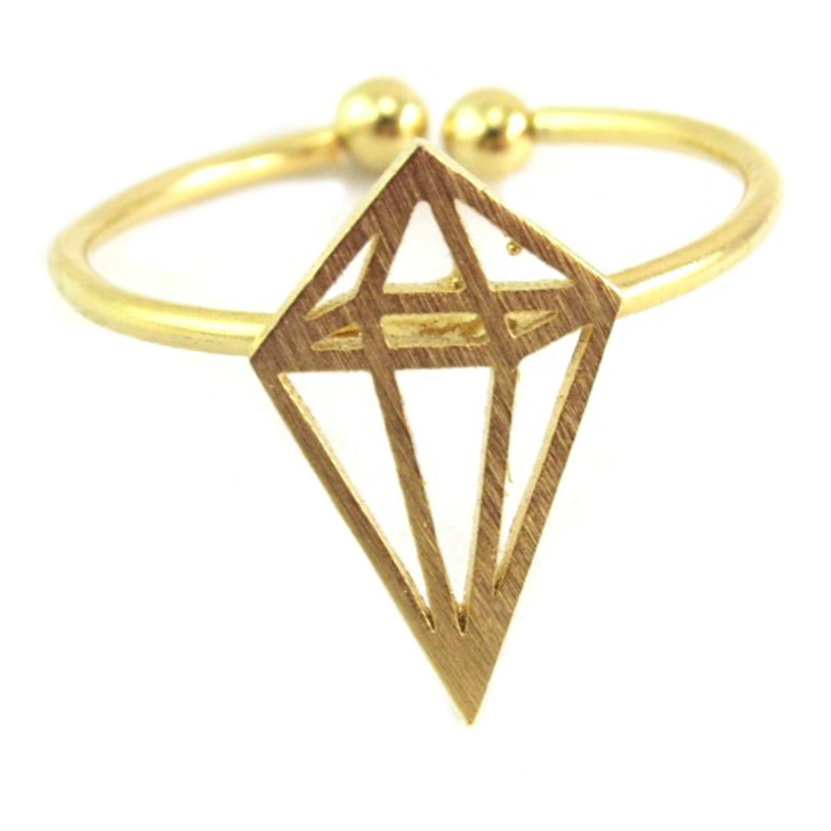Bague artisanale \'Origami\' doré (diamant) - 14x8 mm - [Q6217]