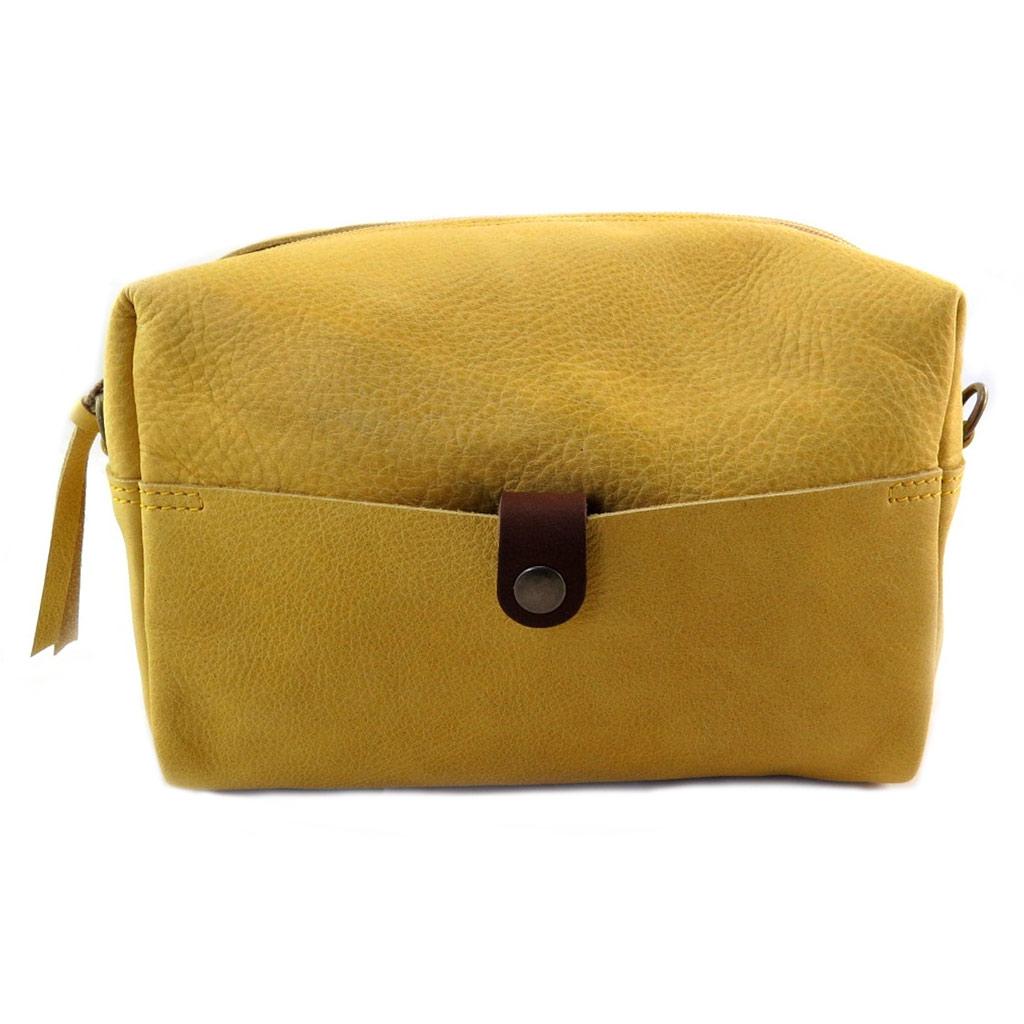 Sac artisanal cuir \'Soleil du Sud\' jaune vintage - 24x16x10 cm - [N7927]