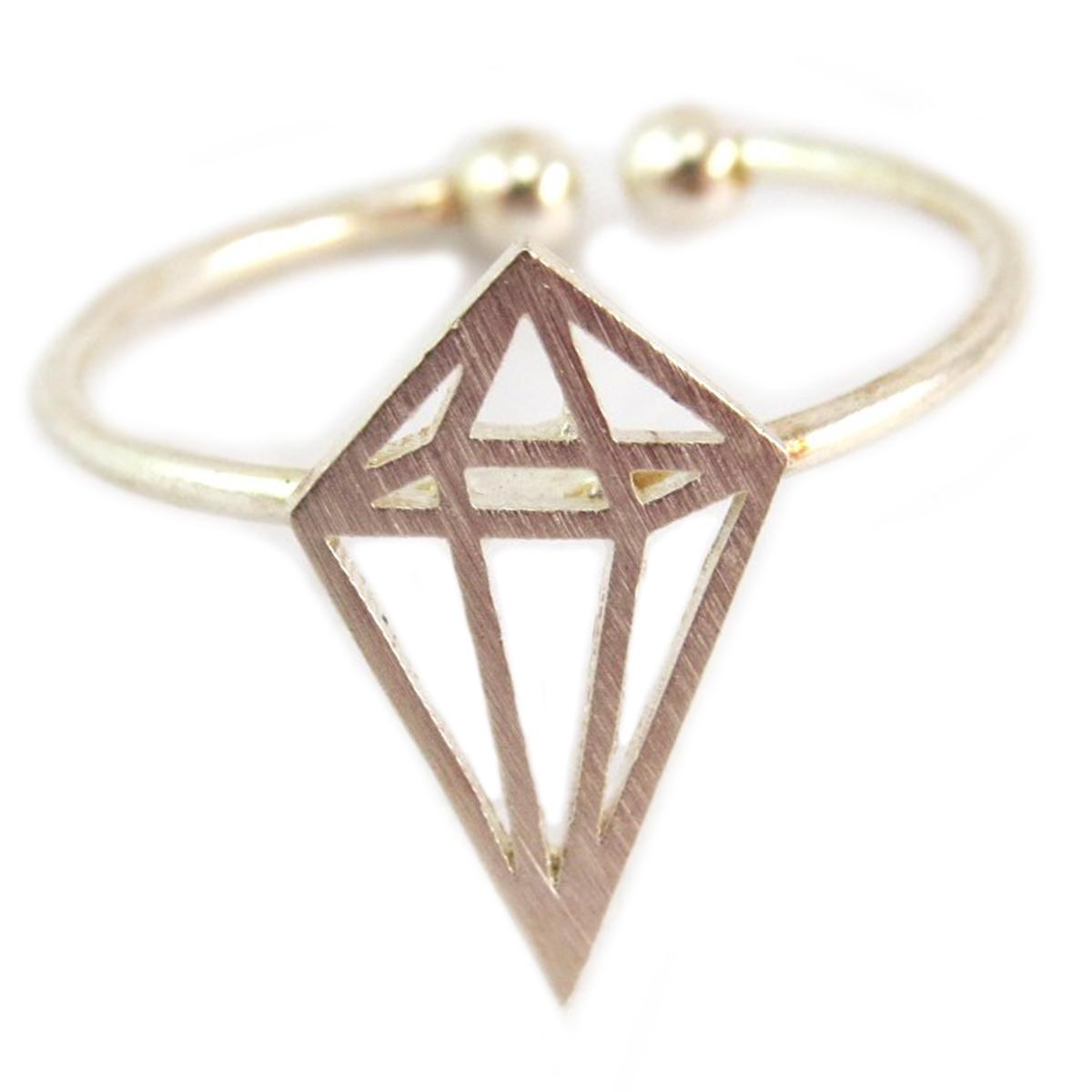 Bague artisanale \'Origami\' argenté (diamant) - 14x8 mm - [Q6218]