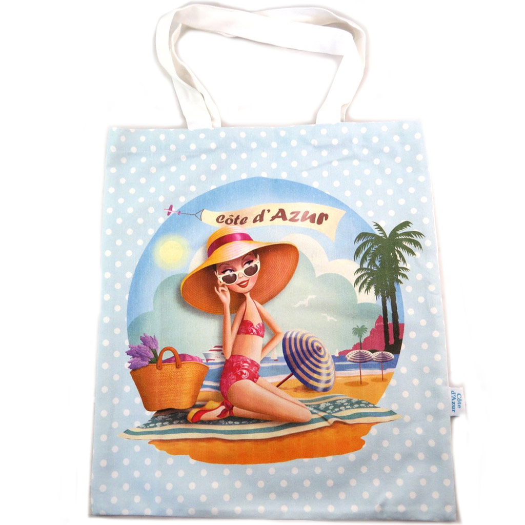 Sac coton / tote bag \'Côté d\'Azur\' turquoise - 445x38 cm - [N7930]
