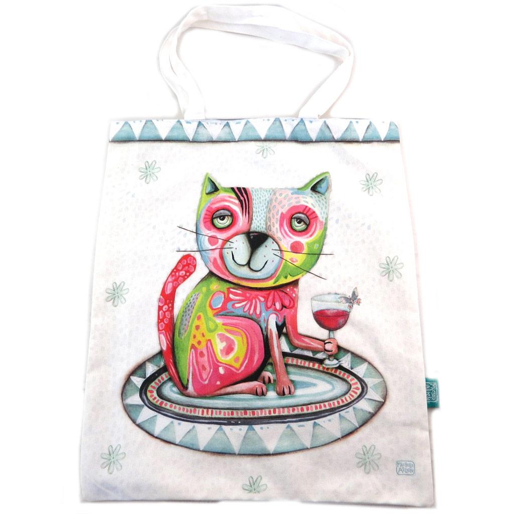 Sac coton / tote bag \'Allen Designs\' beige multicolore (chat) - 445x38 cm - [N7934]