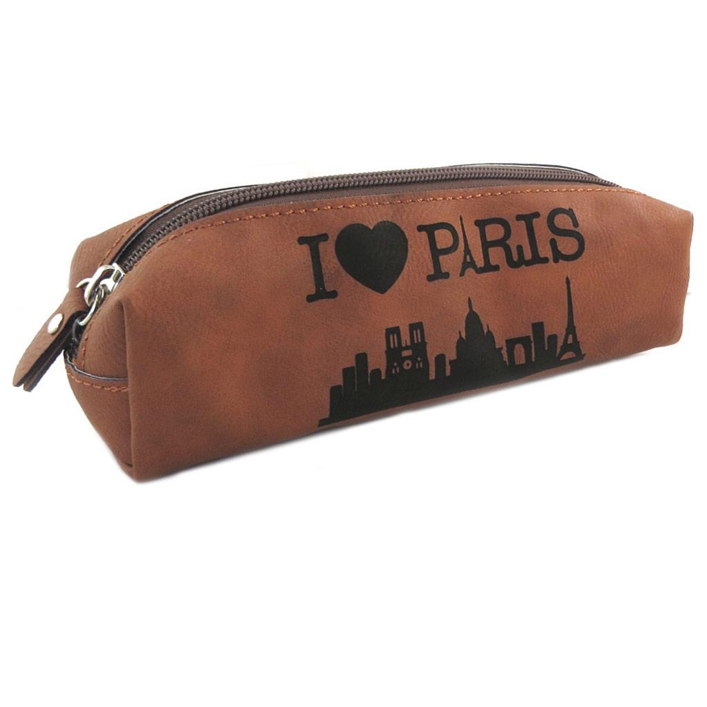 Trousse rétro \'I Love Paris\' marron - 21x7x55 cm - [N7942]