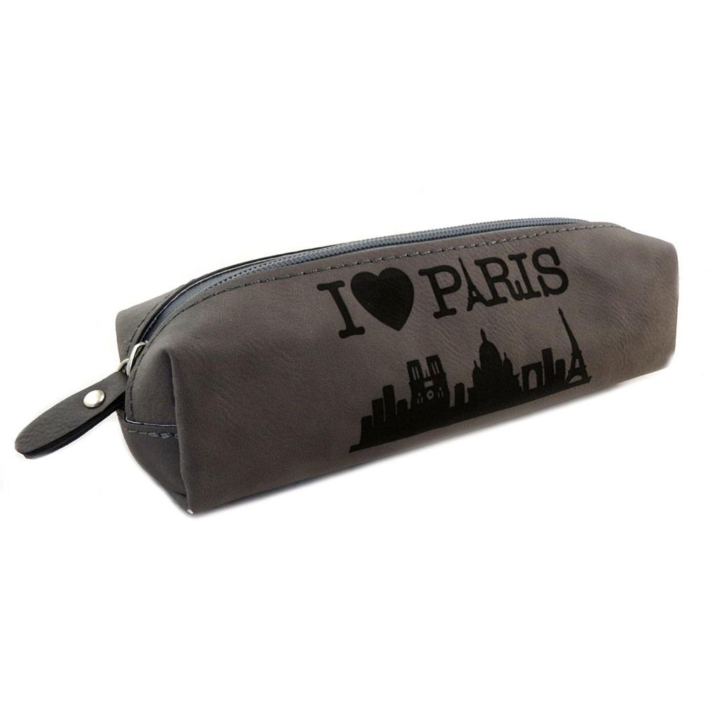 Trousse rétro \'I Love Paris\' gris - 21x7x55 cm - [N7944]