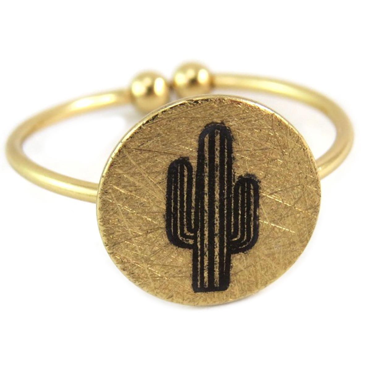Bague artisanale \'Cactus\' doré - 11x11 mm - [Q6226]
