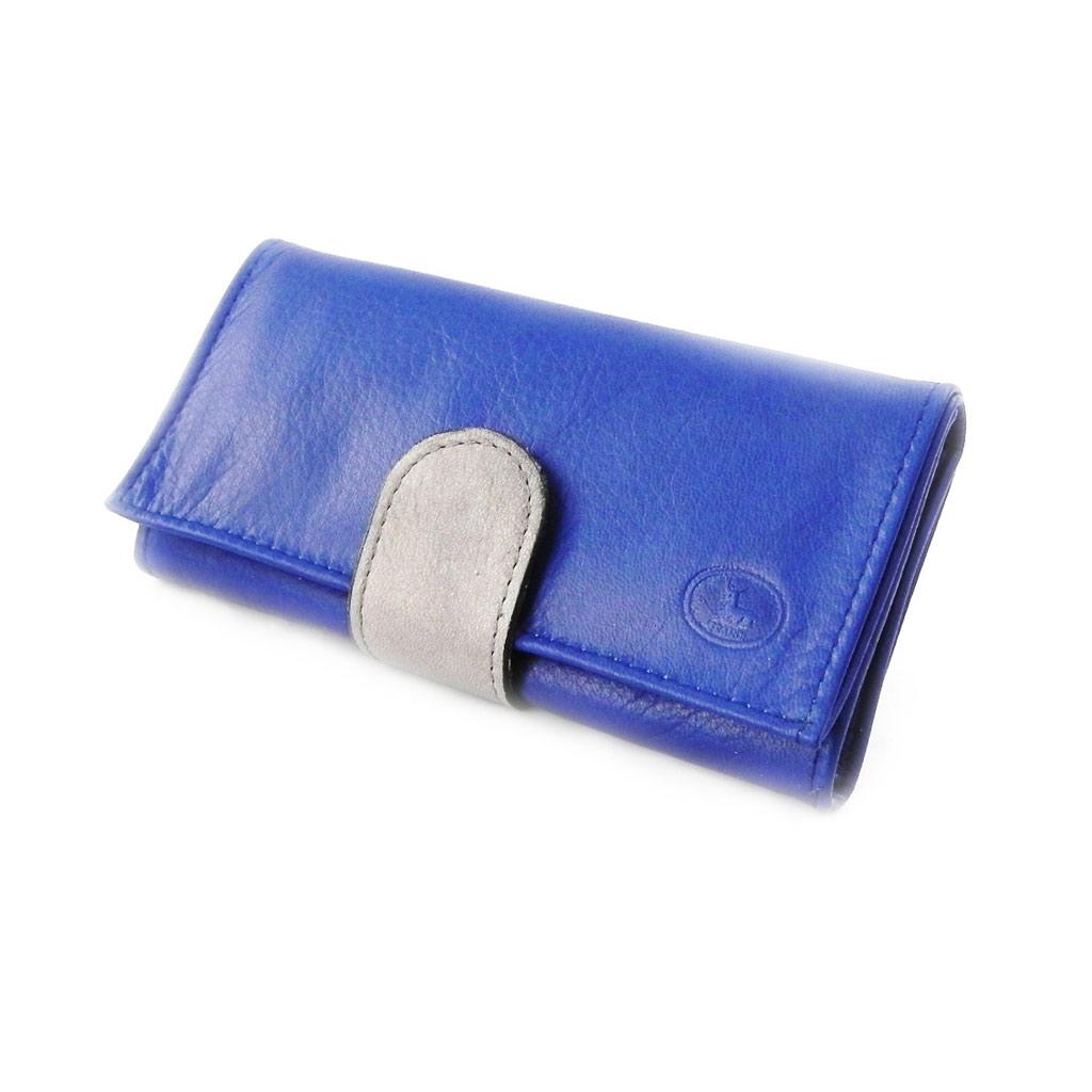 Grand porte-monnaie Cuir \'Frandi\' bleu gris sauvage - [I8022]