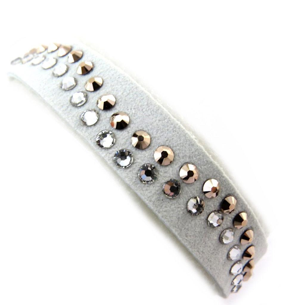 Bracelet créateur \'Sissi\' blanc (cristal de Swarovski) 12 cm  - [N3447]