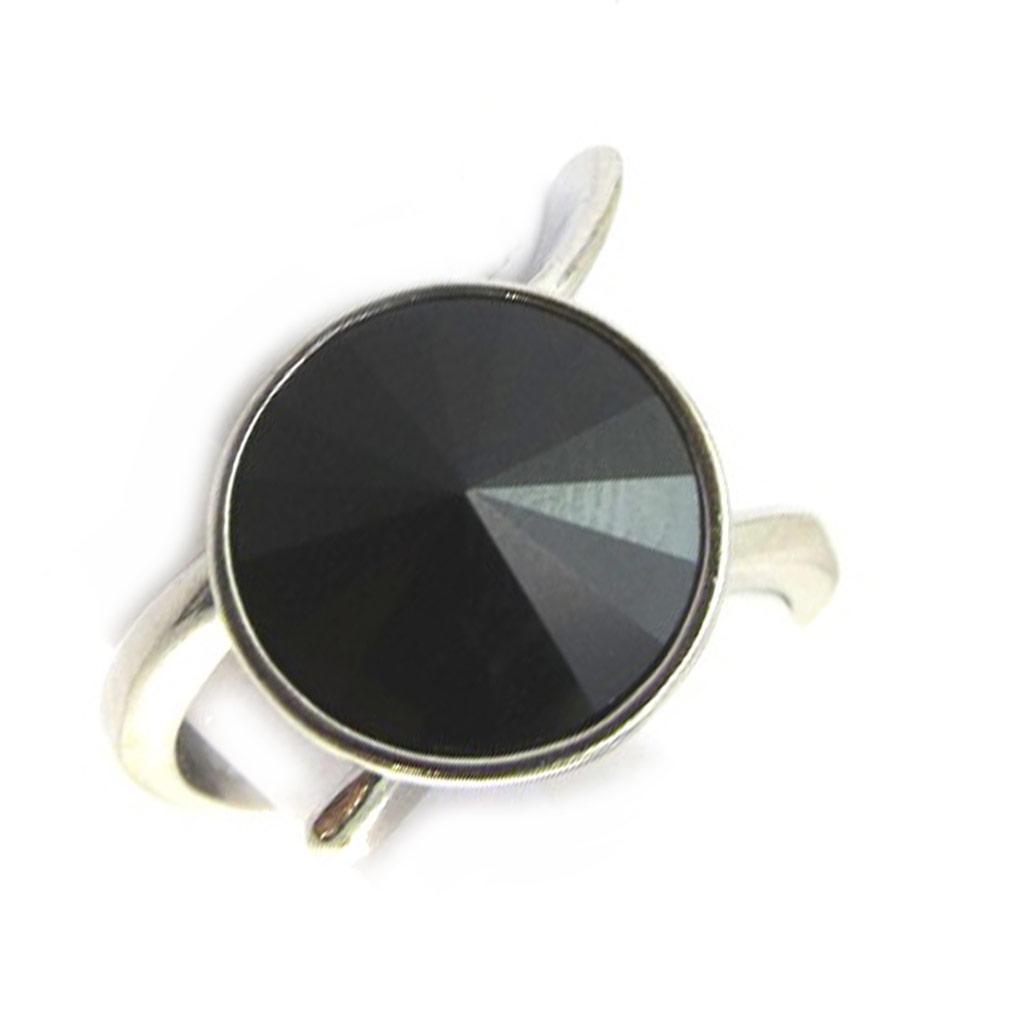 Bague Argent \'Sissi\' noir (cristal de Swarovski) - 12 mm - [N3455]