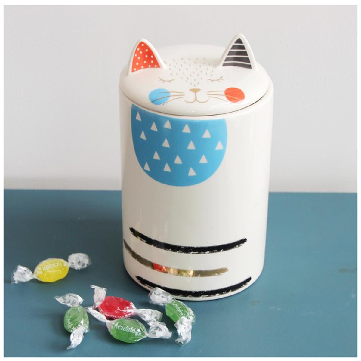 Pot céramique \'Chats\' blanc multicolore - 195x11 cm - [A0180]