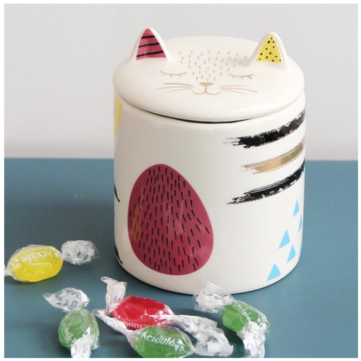 Pot céramique \'Chats\' blanc multicolore - 12x95 cm - [A0181]