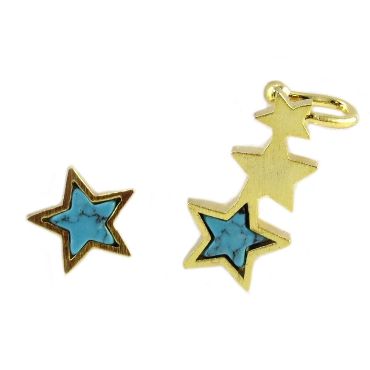 Boucle bague oreille artisanales \'Une Etoile est Née\' turquoise doré - 10 mm - [Q6236]