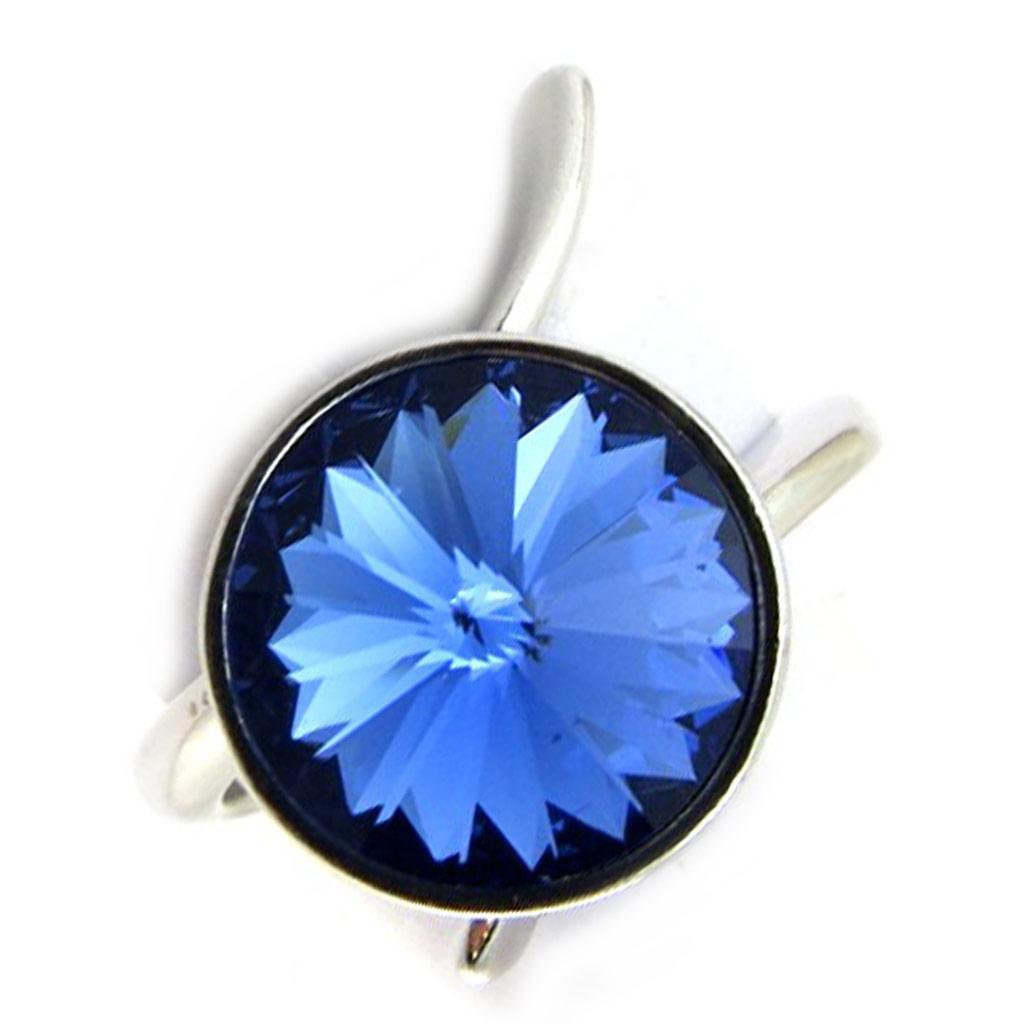 Bague Argent \'Sissi\' bleu (cristal de Swarovski) - 12 mm - [N3456]