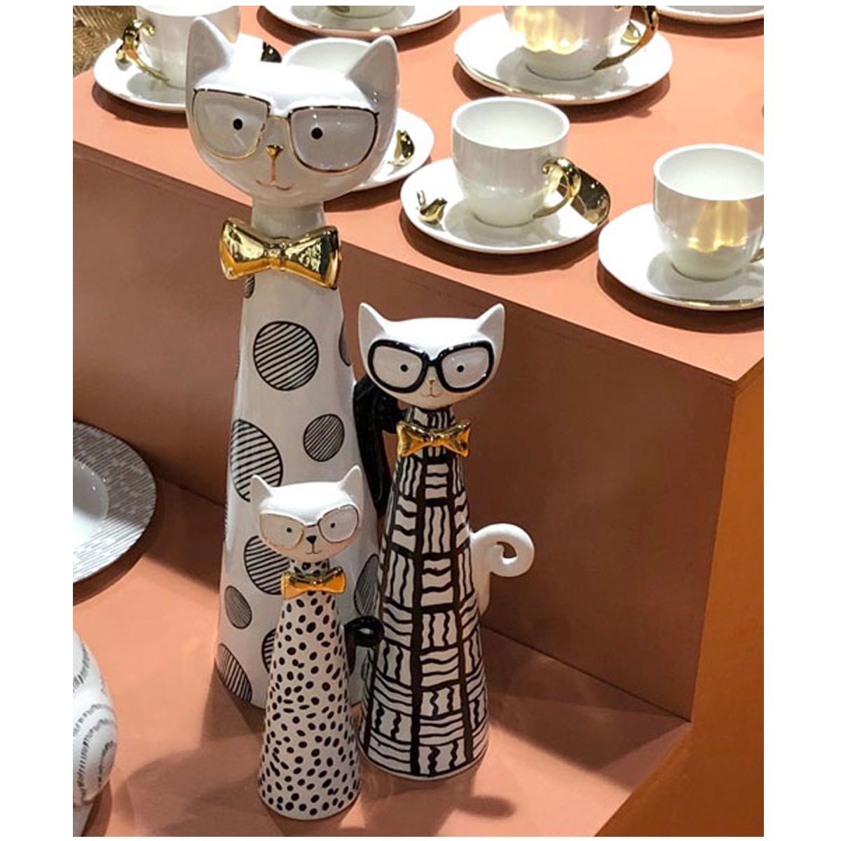 Set de 3 figurines céramique \'Chats à Lunettes\' noir blanc doré - 37, 27 et 20 cm - [A0182]