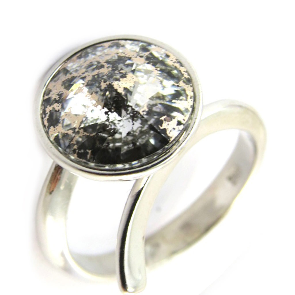 Bague Argent \'Sissi\' gris marron (cristal de Swarovski) - 12 mm - [N3463]