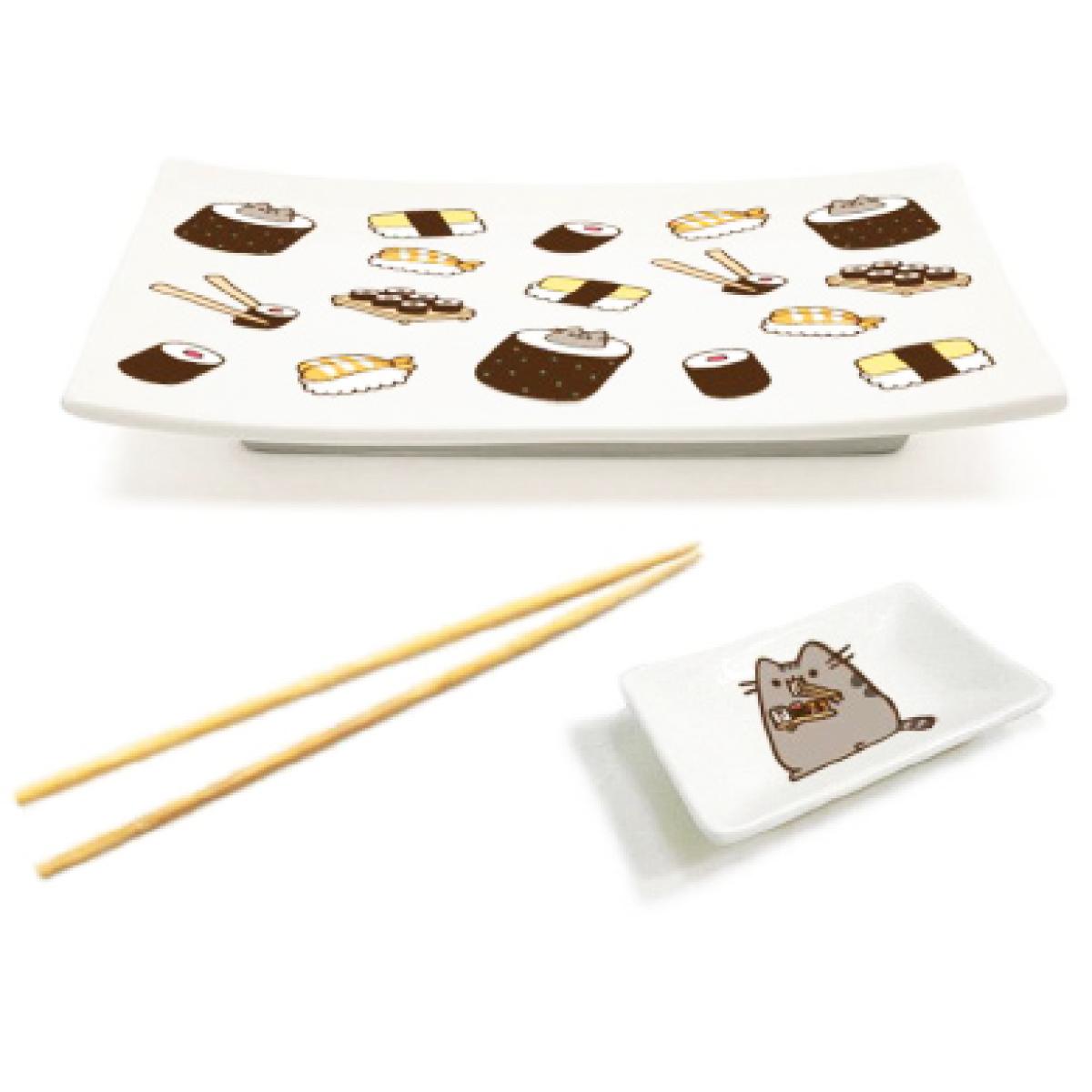 Service à sushis céramique \'Pusheen\' beige - 20x14 cm - [Q1986]