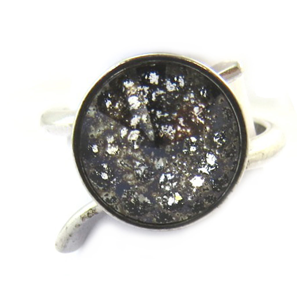 Bague Argent \'Sissi\' noir gris (cristal de Swarovski) - 12 mm - [N3464]