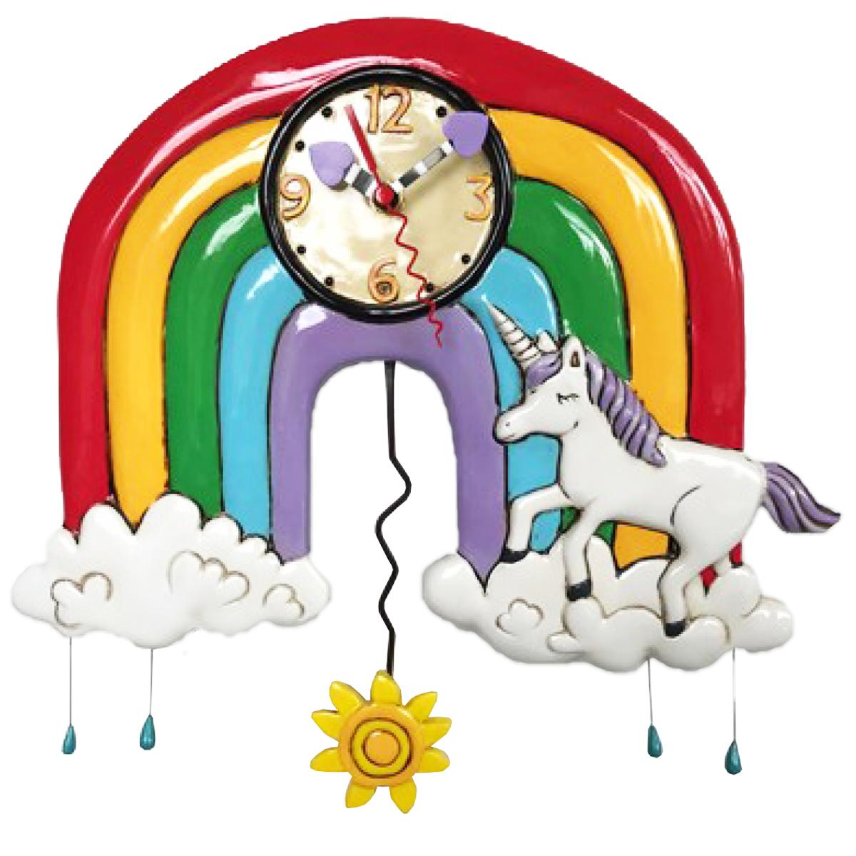 Horloge Murale \'Allen Designs\' multicolore (licorne arc en ciel) - 32x28 cm - [Q1994]