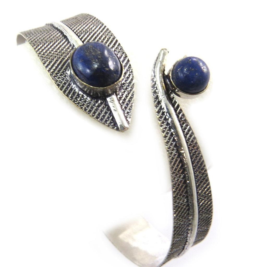 Bracelet bras créateur \'Navajos\' bleu argenté - [N3469]
